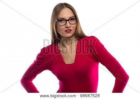 Photo of smiling woman in red leaned aside