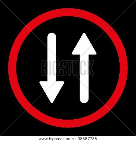 Arrows Exchange Vertical flat red and white colors rounded vector icon