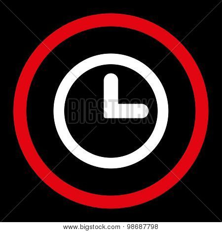 Clock flat red and white colors rounded vector icon