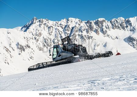 Snow cat in a Winter Mountain