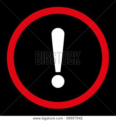 Exclamation Sign flat red and white colors rounded vector icon