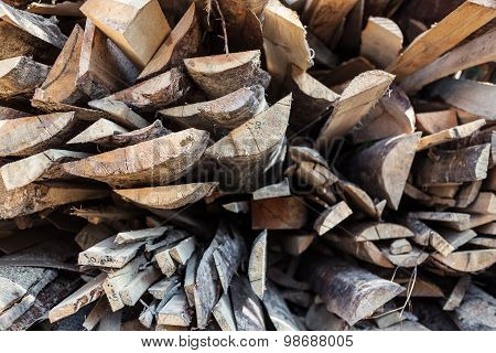 Pile Of Raw Planks Of Pine Wood