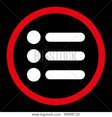 Items flat red and white colors rounded vector icon