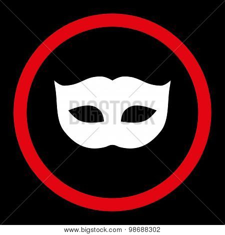 Privacy Mask flat red and white colors rounded vector icon