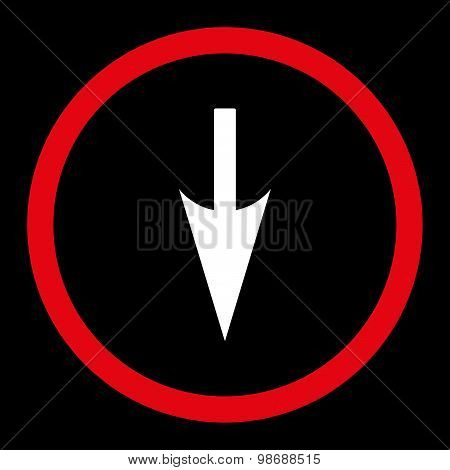 Sharp Down Arrow flat red and white colors rounded vector icon