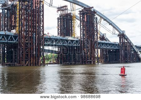 Construction Of The New Bridge Across The Dnieper In Kyiv