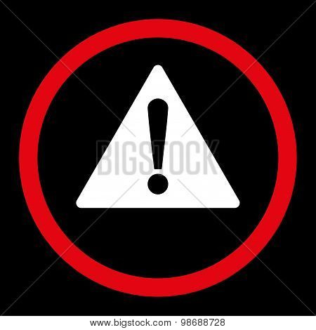 Warning flat red and white colors rounded vector icon