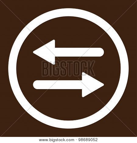 Arrows Exchange flat white color rounded vector icon