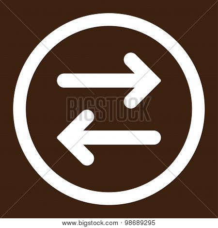 Flip Horizontal flat white color rounded vector icon