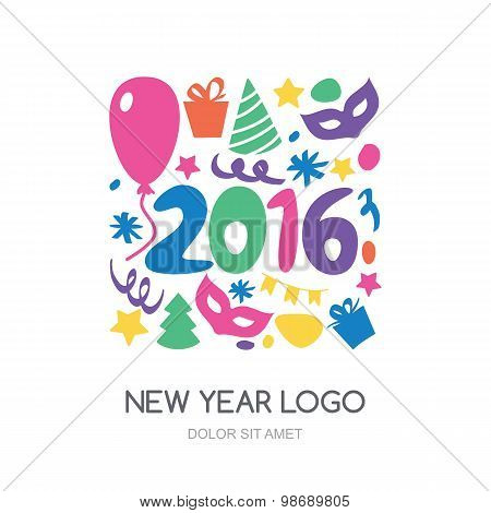Multicolor Hand Drawn New Year 2016 Logo. Vector Icons Set. Gift, Balloon, Mask,  Christmas Tree, Co