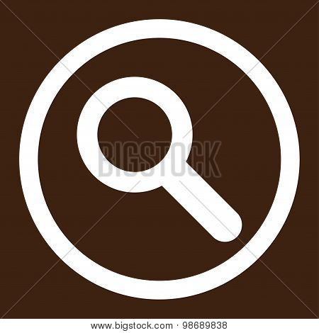 Search flat white color rounded vector icon