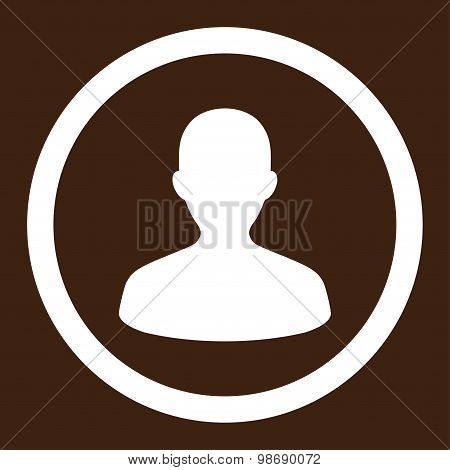 User flat white color rounded vector icon