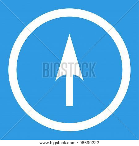 Arrow Axis Y flat white color rounded vector icon