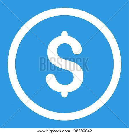 Dollar flat white color rounded vector icon