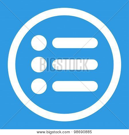 Items flat white color rounded vector icon