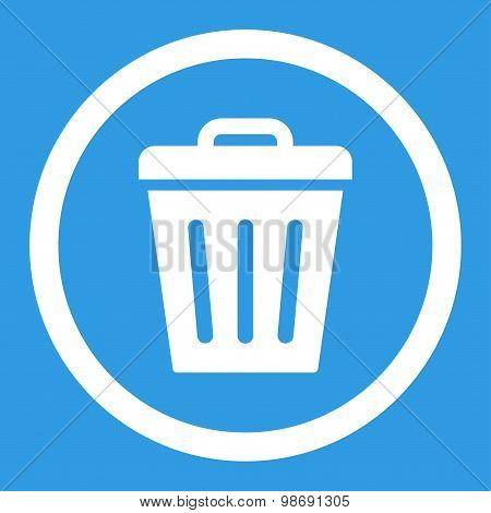 Trash Can flat white color rounded vector icon