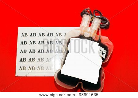 Close Up Bag Of Blood And Plasma Group Ab