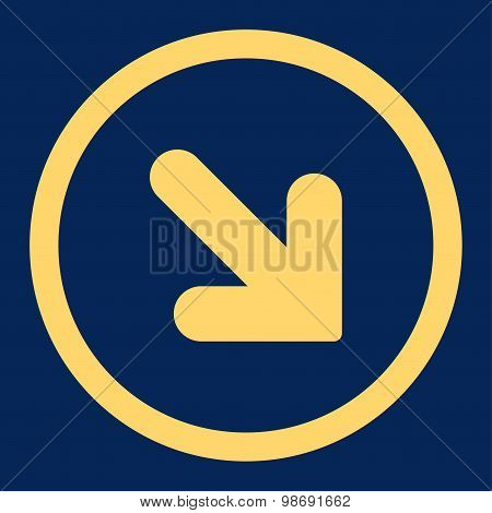 Arrow Down Right flat yellow color rounded vector icon