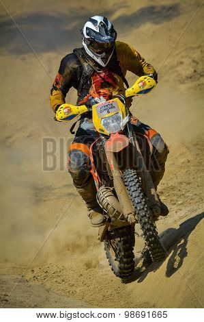 Sibiu, Romania - July 18: A Competitor In Red Bull Romaniacs Hard Enduro Rally With A Ktm Motorcycle