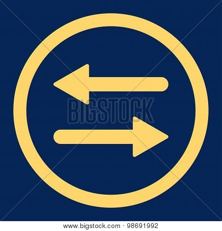 Arrows Exchange flat yellow color rounded vector icon