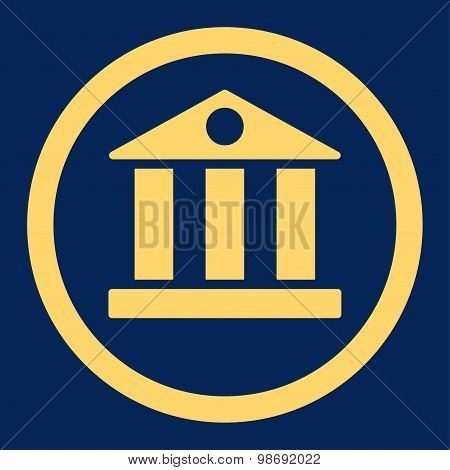 Bank flat yellow color rounded vector icon