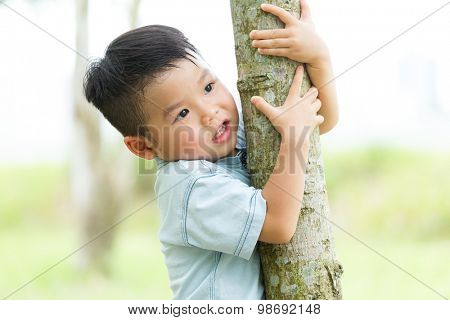 Little boy climbing up with tree bark