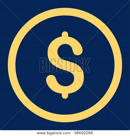 Dollar flat yellow color rounded vector icon