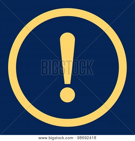 Exclamation Sign flat yellow color rounded vector icon