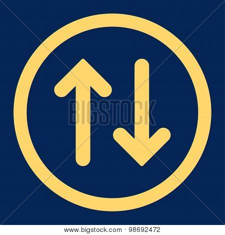 Flip flat yellow color rounded vector icon