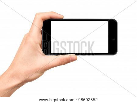 Holding the black smartphone