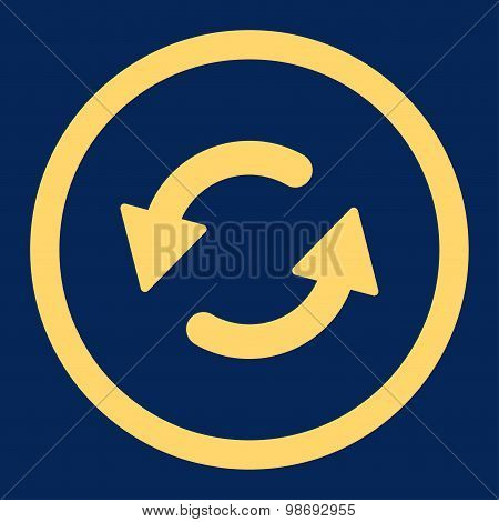 Refresh Ccw flat yellow color rounded vector icon