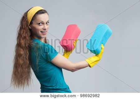 Cleaning Woman Standing And Holding Sponge