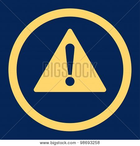 Warning flat yellow color rounded vector icon