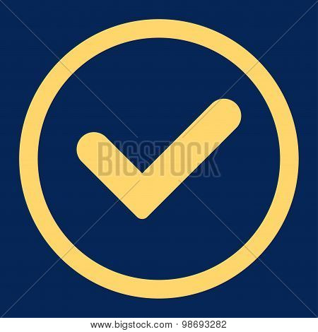 Yes flat yellow color rounded vector icon