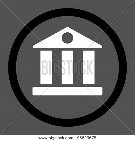 Bank flat black and white colors rounded vector icon