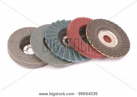 Abrasive Wheels On A White Background