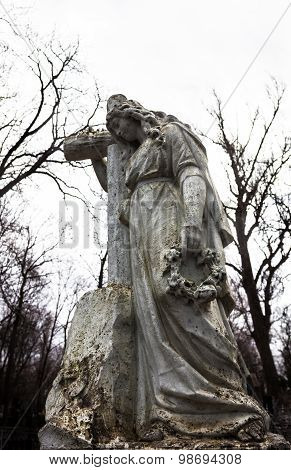 Old Cemetery Marble Sculpture Of The Woman