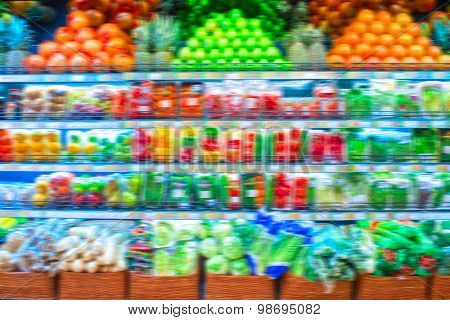 Blurred pronounced background of store