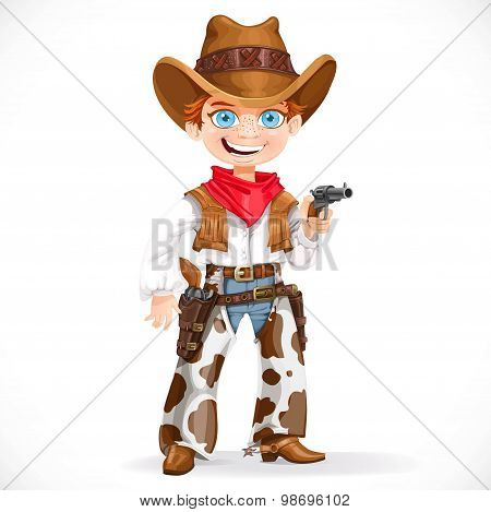 Cute Boy Dressed As A Cowboy With Revolver Isolated On A White B