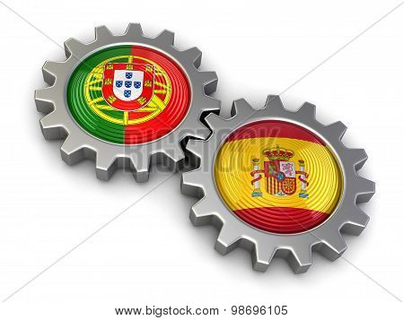 Portuguese and Spanish flags on a gears (clipping path included)