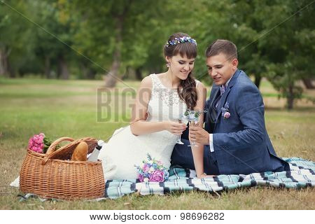 portrait of happy wedding couple in nature, sitting on plaid, and drinking wine