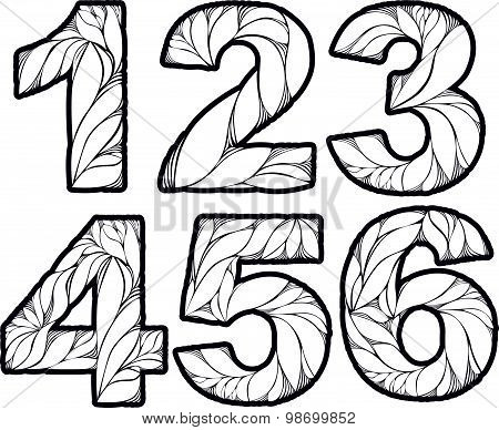 Vector numeration decorated with leaves, 1, 2, 3, 4, 5, 6. Vintage ornamental numbers set.