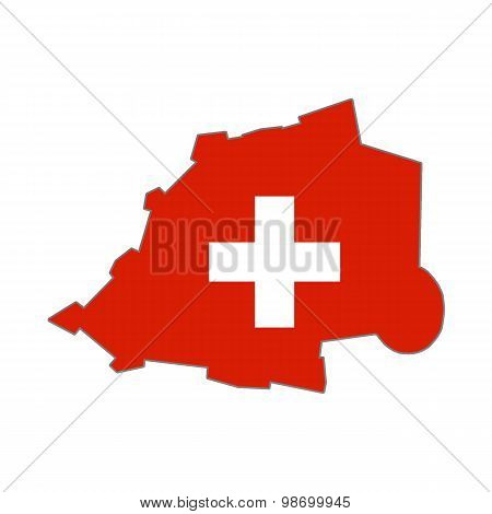 Map flag of the Vatican and Switzerland.