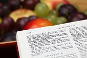 stock photo of bible verses  - Holy Bible open to Galatians 5 - JPG