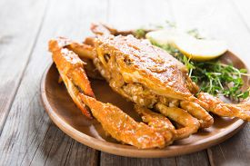 stock photo of cooked crab  - Cooked delicious hot and spicy sauce blue crab - JPG