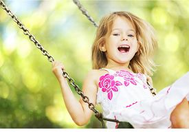 picture of swing  - Child Playing Playground Little Girls Swing Laughing Cheerful - JPG
