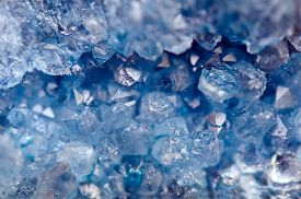 pic of agate  - Druse blue crystals Agate SiO2 silicon dioxide - JPG