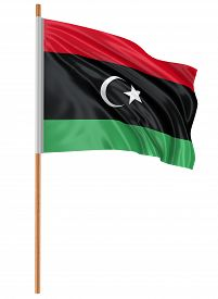 stock photo of libya  - 3D flag of Libya with fabric surface texture - JPG