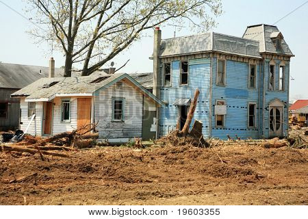 abandoned old houses ready for demolition