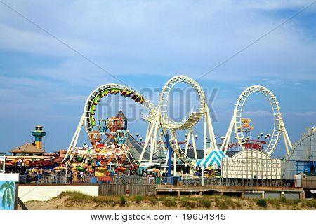 Amusement park rides with copy space
